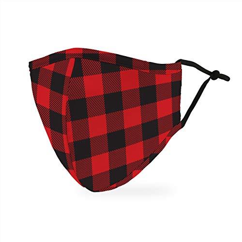 Weddingstar Masque en tissu lavable Tissu de protection réutilisable et réglable Couvercle avec poche pour filtre à poussière - Bison à carreaux
