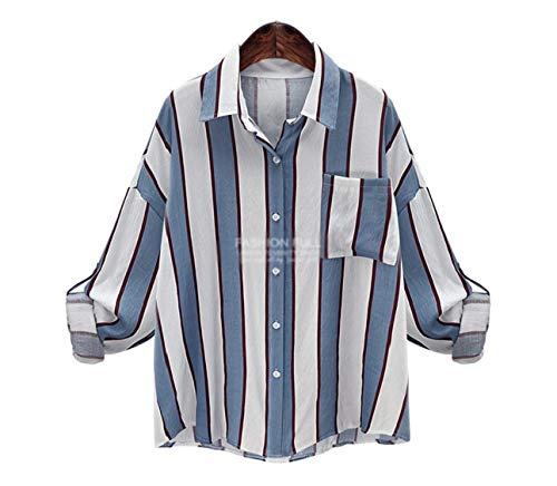 ten is heart Long Sleeve Blouse Shirts Striped Women Cute Tops Big Silhouette (Small, sax) minnie wear stretch quick dry lightweight wrinkle cuff vented logo loom stripe straps tuck print small ruffle