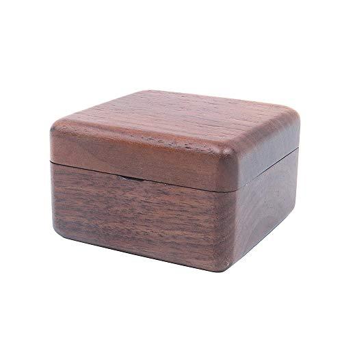 Shiwaki 2.36'x2.36 x1.5 Caja de Anillo Doble de Compromiso de Madera de Nogal, Caja de Anillos Dobles Cuadrados de Madera Maciza para Almacenamiento de Anillos de Ceremonia de Boda