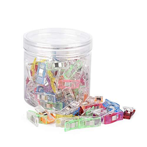 ewtshop® 100 Stück Stoffklammern, Wonder Clips, Kunststoffklammern farbig, mit Aufbewahrungsbox