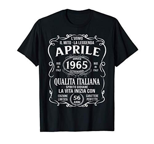 56 Anni Compleanno Uomo Donna Regalo Vintage Aprile 1965 Maglietta