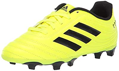 adidas Unisex-Kid's Copa 19.4 Firm Ground Soccer Shoe, Solar Yellow/Black/Solar Yellow, 13.5K M US Little Kid