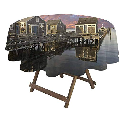 prunushome United States Table Cloth Cover Sunset Over Nantucket Massachusetts Dramatic Sky Clouds Pond Houses for Dining Room Party Outdoor Picnic Coral Blue Sepia   70' Round