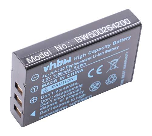 vhbw Batterie pour Appareil Photo RCA Lyra X2400 remplace NP-120 (1600mAh, 3.7V, Li-ION)