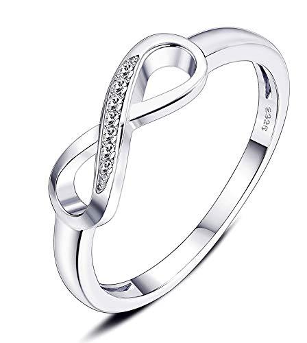sailimue 925 Sterling Silber Unendlichkeit Damen Ringe für Frauen Mädchen Ring Für Immer Liebe Zirkonia Jahrestag VersprechenHochzeits Engagement Ring mit Geschenk Box Größe 47-62