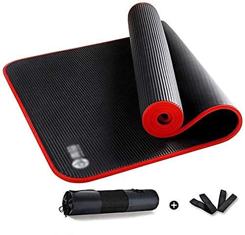 Stuoia per Ginnastica Gymnasty Tappetino da 10 mm Antiscivolo e Durevole ad Alta densità Una Grande Tappetino di Fitness con Borsa di Trasporto (Color : Black, Size : 185x80cm)