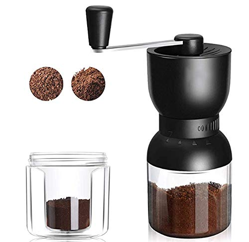 MeelioCafe Kaffeemühle mit manuell einstellbarem Keramikmahlwerk, Espressomühle, präzise stufenlose Mahlgradeinstellung, tragbare Kaffeemühle
