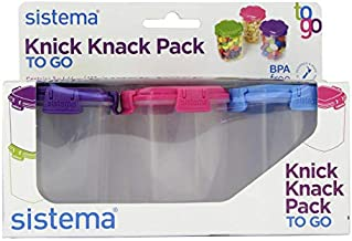Sistema Medium Knick Knack Containers Set of 3, Purple , Blue & Pink - H7.09 x W2.48 x D 3.15 inches