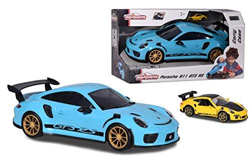 Majorette Porsche 911 GT3 RS Carry Case, Aufbewahrungsbox für 9 Autos (7,5 cm), mit original Porsche Sound, inkl. 1 Porsche 911 GTR RS Spielzeugauto in gelb, Batterien enthalten, 35 cm, blau
