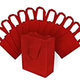 Small Reusable Bags with Handles, Red Fabric Tote Bags, Strong and Eco Friendly for Shopping, Gifts, Groceries, Merchandise, Events, Parties, Take-Out, Giveaways, Retail Stores, Bulk 12 Pcs - 8x4x10