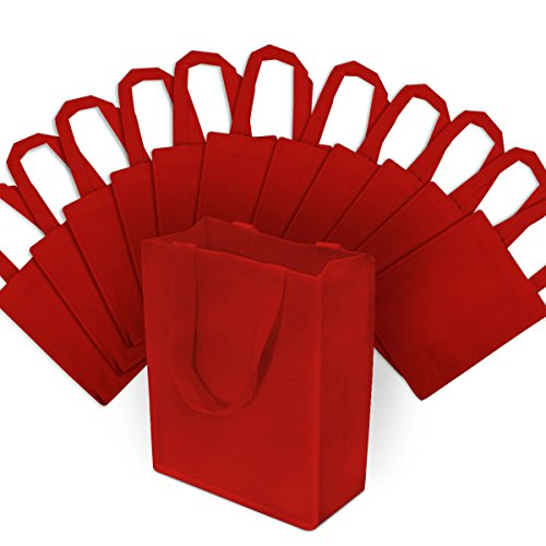 Small Red Reusable Gift Bags, Shopping Bags with Handles, Grocery Bags, Fabric Tote Bags, Merchandise Bags, Foldable, Strong and Eco Friendly 12 Pcs. 8x4x10'