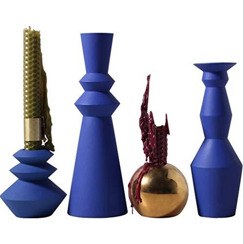 Candelero Portavelas Cena romántica con velas titular de la vela de cerámica de cuatro piezas soporte de accesorios for el hogar decoración de Navidad vela candelabros Candelabro Boda ( Color : Blue )