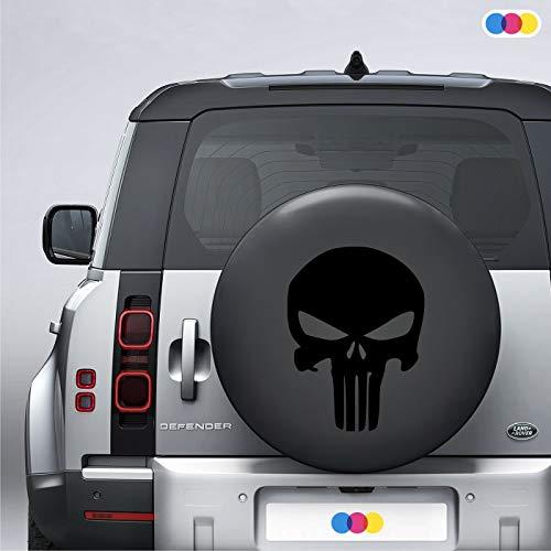 mural stickers Adesivo Teschio The Punisher - 4x4 off Road - US Army - Fuoristrada - Sticker per COPRIRUOTA Jeep - Adesivo per Ruota di SCORTA - Vinile PVC per Auto Camper FURGONI Nero 35 x 25 cm