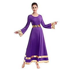 Womens Long Sleeve Tunic Robe Worship Praise Liturgical Full Dance with Sequin Belt