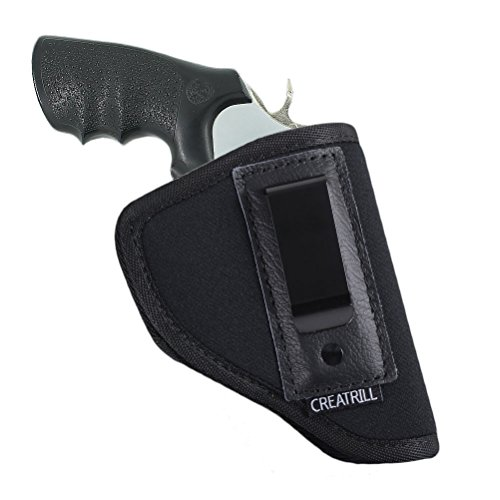 CREATRILL Inside The Waistband Holster | Fits Most J Frame Revolvers/Ruger LCR/Smith & Wesson Body Guard/Taurus/Charter/Most .38 Special Type Guns | Gun Concealed Carry IWB or OWB Holster