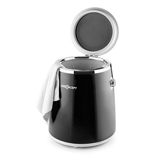 OneConcept Ecowash-Pico - Mini lavadora portable , Lavadora de camping , Función centrifugado , Capacidad: 3,5 kg , Potencia 380 W , Temporizador , Uso sencillo , Recogecable , Asa transporte , Negro