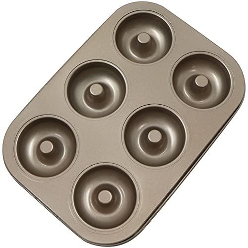 Molde Donuts Hornear Cupcakes Antiadherente - 6 Cavidades Acero al Carbono Rosquillas Carbón Muffin Pan Cup Bandeja Pasteles Moldes, para Brownies, Pie, Mini bollos, Manzana Tartas (oro champán).