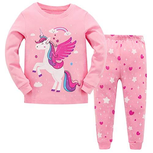Conjunto de pijamas de Navidad MIXIDON, conjunto de pijamas de jirafa, 100% algodón, de manga larga, 2 piezas para niños Rosa rosa 2-3 Años