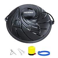 WEMARS バランスボール 半円型 ヨガボール 半球 エクササイズボール バランス ボード 体幹トレーリング ダイエット 運動 耐荷重300kg 直径約60㎝ 重量5.6kg (ブラック)
