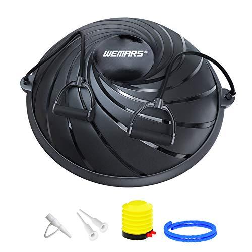 WEMARS 半球バランスボール 半円型 ヨガボール 半球 エクササイズボール バランス ボード 体幹トレーリング ダイエット 運動 耐荷重300kg 直径約60�p 重量5.6kg (ブラック)