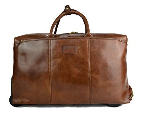 Leder braun Troller Reisetasche Manner Damen mit Griff Leder weekend tasche reisetasche sporttasche mit rollen leder pilot tasche