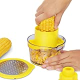 4 in 1 Multi-Function Corn Stripper,Corn Shucker Tool Corn Holder, Corn Stripper Tool Corn Cutter & Remover with Built-In Measuring Cup Grater, Corn Kernel Remover Ginger Grate(yellow)