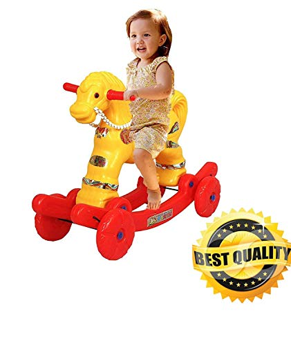 Shiv Online Toys 2 in 1 Baby Horse Rider | Rocker for Kids 0-1 Years Baby Birthday Gift for Kids/Boys/Girls (Yellow)