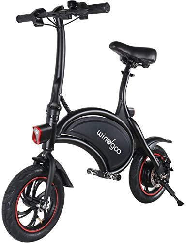 TOEU Ebike 36V Bicicleta Electrica Plegable 12', Black Matte, Bici Electrica Urbana Ligera para Adulto (White)
