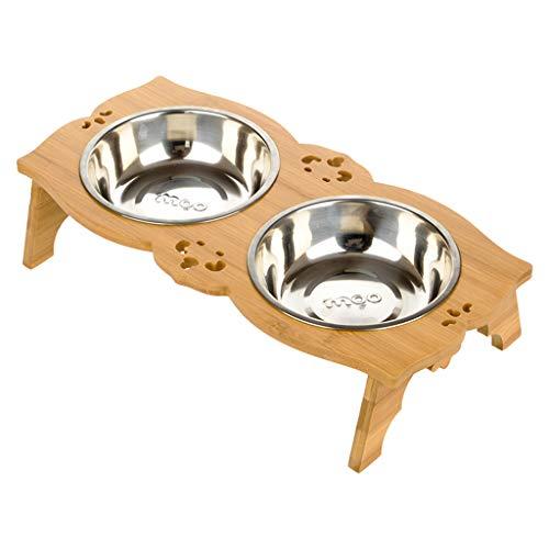 CXQ Hundenapf Cat Bowl Edelstahl Trinkschale Bambus Regal Cat Food Hundefutter Pet Heimtierbedarf