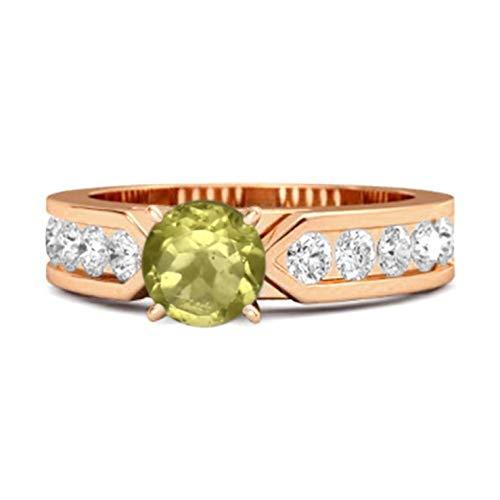 Shine Jewel Multi Elija su Piedra Preciosa de 0,25 Quilates de Plata de Ley 925 Oro de Rose Plateado Cuento de Belleza Anillo de Mujer (8, peridoto)