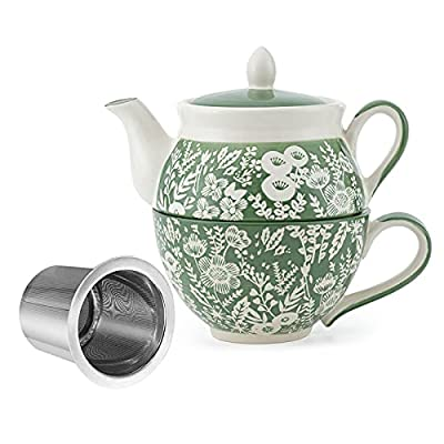 Taimei Teatime Hand Painted Tea for One Set, Ceramic Tea Pot(11 fl oz) and Cup Set with Infuser for Loose Leaf Tea, Vibrant Garden
