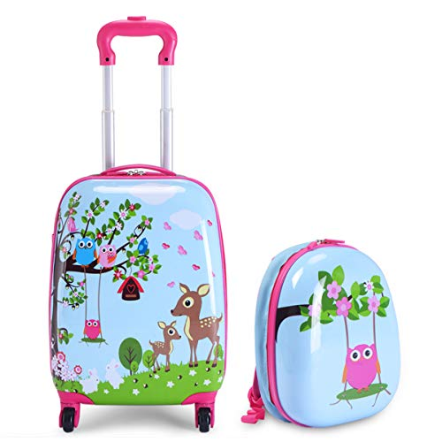 Goplus Kids Carry on Luggage Set, 2Pcs Kid Luggage with Spinner Wheels, Rolling Trolley Suitcase for Boys and Girls (Deer)