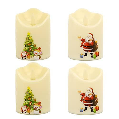 MAFANG Candele LED Set di 4 Candele A LED Senza Fiamma in Vera con Telecomando E Timer Luce Decorativa Alimentazione dalle 3 Pile AAA Decorazioni per Natale Feste Matrimonio Compleanno