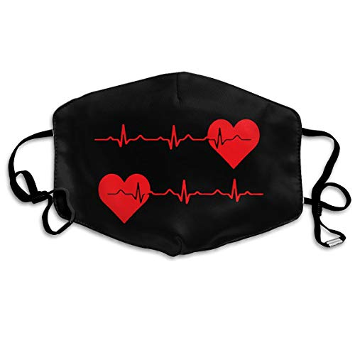 Nurse Red Love Heart Heartbeat EKG Black Printed Facial Decorations For Women And Men