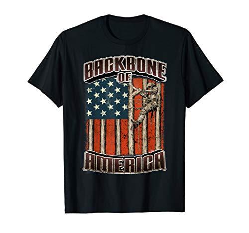 American Flag Tree Climber Backbone Of America Shirt T-Shirt
