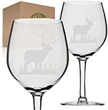 Deer Etched Engraved Wine Glass set gift for christmas birthday