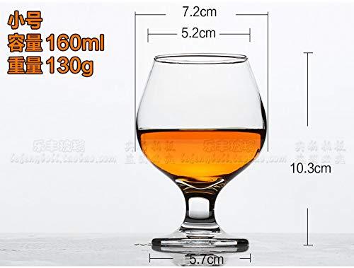 Luxe glass Brandy Cup met hoge voet, korte rode wijnbeker, fijne cognac-beker, loodvrije glas-Big-Belly-wijnbeker, zes strompetten van 160 ml