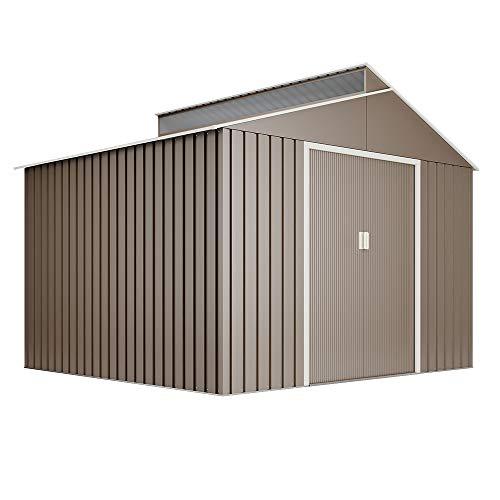 Hoggar by Okoru Cobertizo Premium Metal para Almacenamiento 7,25m2-282x257x222cm. Casta Jardin terraza