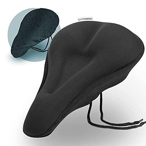 sportanics I - Funda de gel para sillín de bicicleta, incluye funda para la lluvia, para hombre y mujer, acolchado suave para el sillín de bicicleta [Active Fit]