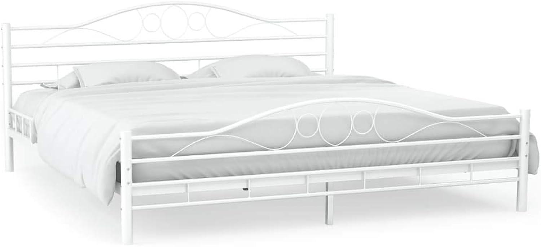 Festnight Metallbett mit Lattenrost  Metall Bettrahmen  Modern Bettgestell  Doppelbett  Geschwungenes Design  Wei Metallrahmen 160x200 cm