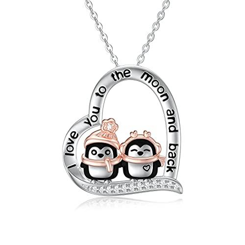 Collar de pingüino de plata de ley con circonita con colgante de corazón de animal lindo regalo de joyería para esposa y novia