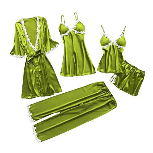 qiansu 5 stücke Nachtwäsche Anzug Frauen V-Ausschnitt Spitze Pyjama Halben Hülse Robe Nachthemd Shorts Hosen Sommer Pyjama Set Home Wear