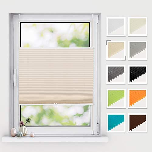 BelleMax Plissee klemmfix ohne Bohren Jalousie Rollos für Fenster Easyfix klemmträger verspannt 40x130 cm(BxH) Creme