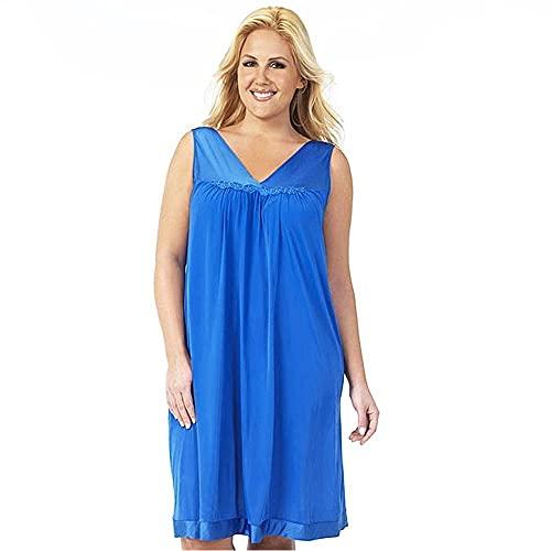 Exquisite Form Women's Plus Size Coloratura Sleepwear Short Gown 30807, Rocky Blue, 2X-Large