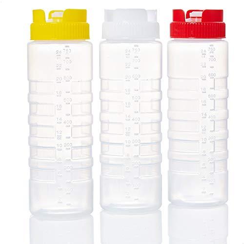 Kerafactum Quetschflasche Squeeze Flasche Dosierflasche Saucenflasche | Ketchup Spender Soßenflaschen Pancake Bottle Mayo Senf | Plastik Quetschflaschen für Dicke Sauce Soßen Kopfflasche | 3 Mixed