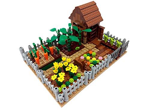 Modbrix Bausteine Haus, Schrebergarten mit Hütte, 263 Klemmbausteine, Konstruktionsspielzeug