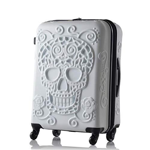 SFBBBO luggage suitcase Spinner Wheel skull Travel Suitcase hardside trolley luggage 24' white