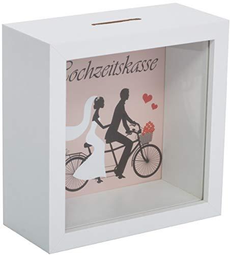 Brandsseller Spardose Hochzeitskasse Sparbüchse Bilderrahmen Design aus Holz und Echt Glas - Weiß