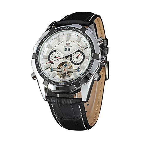 Reloj De Cuarzo Reloj Reloj Metal Reloj Vintage Estilo Vintage Reloj De Cuarzo PU Cuero Simple Business Muñequera Hombres (Blanco Y Plata)
