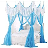 GANG 4 Esquina Post Bed Bed Tabler Cover Mosquito Net Ropa de Cama O Al Aire Libre Repelente Fit Dwin, Full, Queen, Rey Bed Protection, Full Portátil/TwinXL